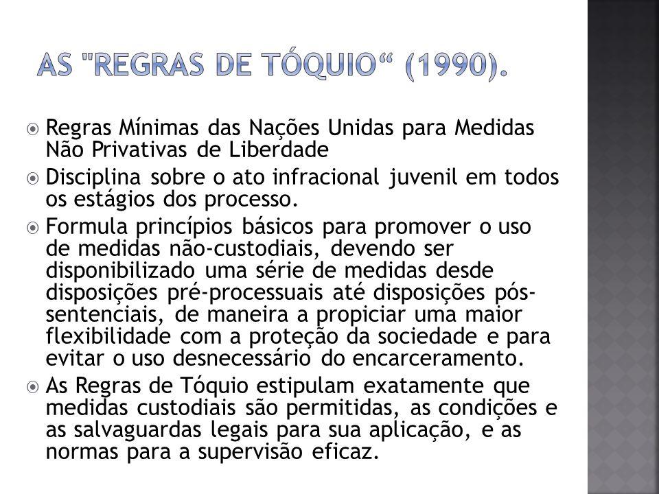 As Regras de Tóquio (1990).Regras Mínimas das Nações Unidas para Medidas Não Privativas de Liberdade.