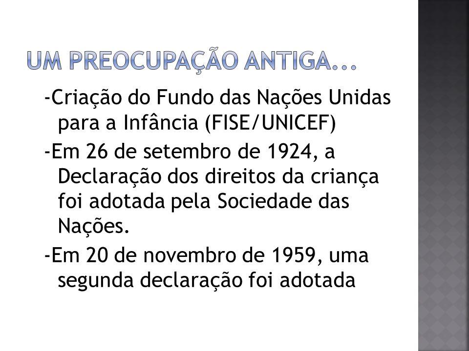 Um preocupação antiga... -Criação do Fundo das Nações Unidas para a Infância (FISE/UNICEF)
