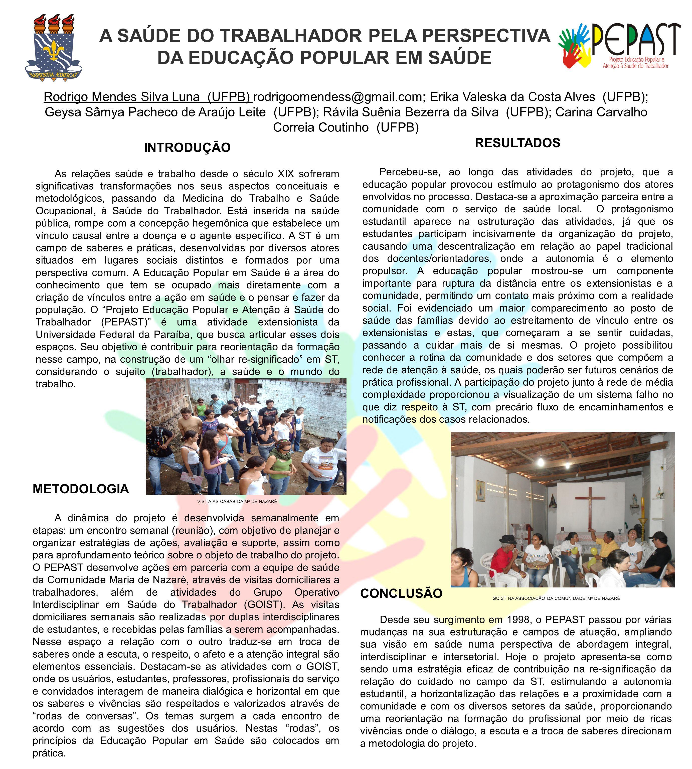 A SAÚDE DO TRABALHADOR PELA PERSPECTIVA DA EDUCAÇÃO POPULAR EM SAÚDE