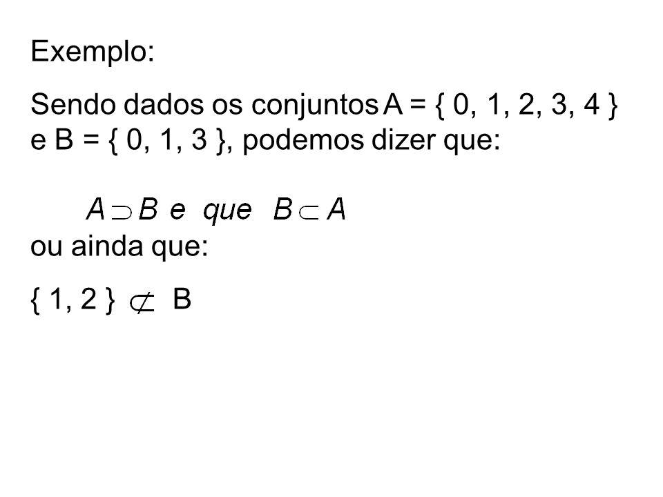 Exemplo: Sendo dados os conjuntos A = { 0, 1, 2, 3, 4 } e B = { 0, 1, 3 }, podemos dizer que: ou ainda que: