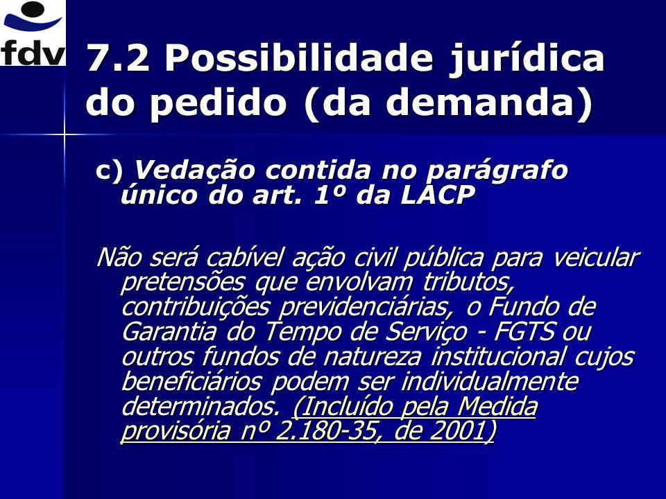 7.2 Possibilidade jurídica do pedido (da demanda)
