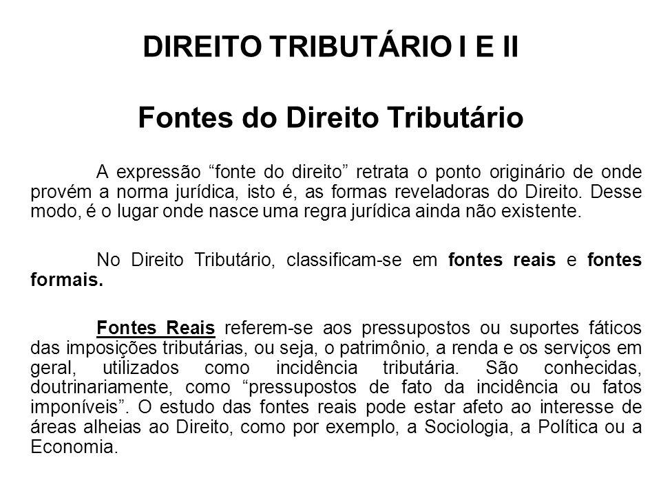DIREITO TRIBUTÁRIO I E II Fontes do Direito Tributário