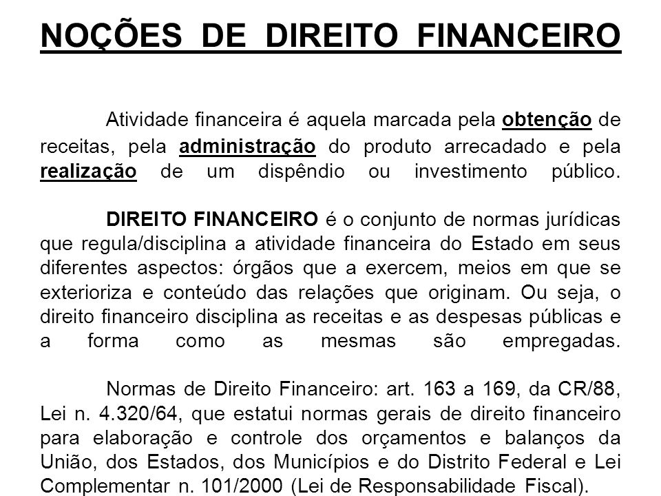 NOÇÕES DE DIREITO FINANCEIRO