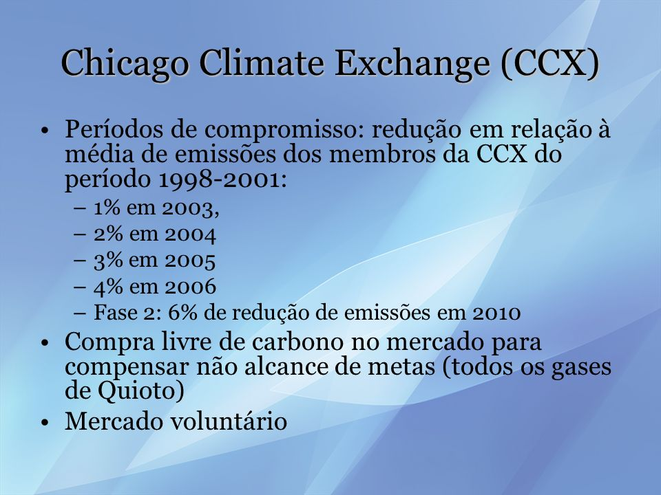 Chicago Climate Exchange (CCX)