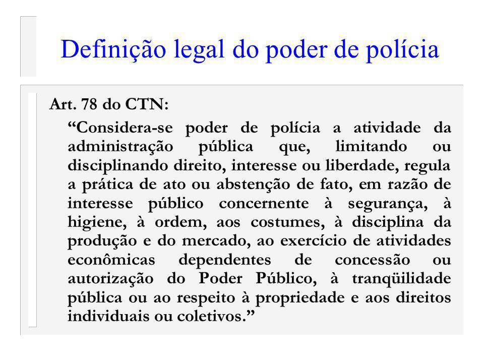 Definição legal do poder de polícia