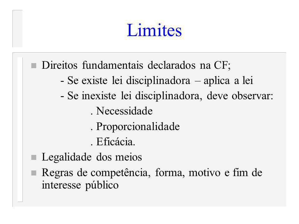 Limites Direitos fundamentais declarados na CF;