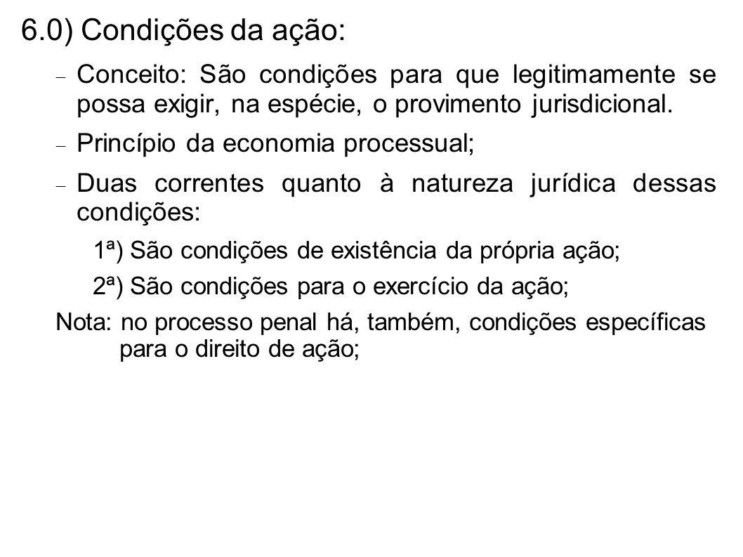 6.0) Condições da ação:Conceito: São condições para que legitimamente se possa exigir, na espécie, o provimento jurisdicional.