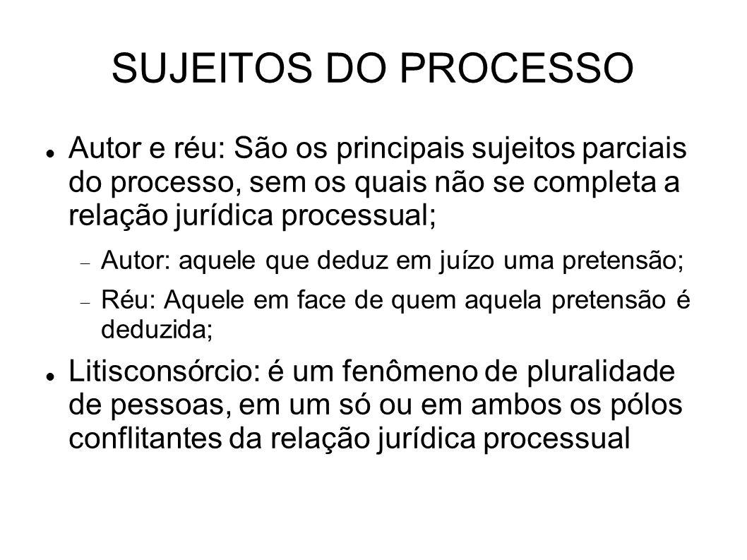 SUJEITOS DO PROCESSO Autor e réu: São os principais sujeitos parciais do processo, sem os quais não se completa a relação jurídica processual;