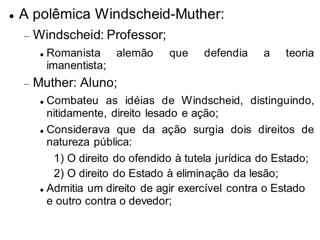 A polêmica Windscheid-Muther: