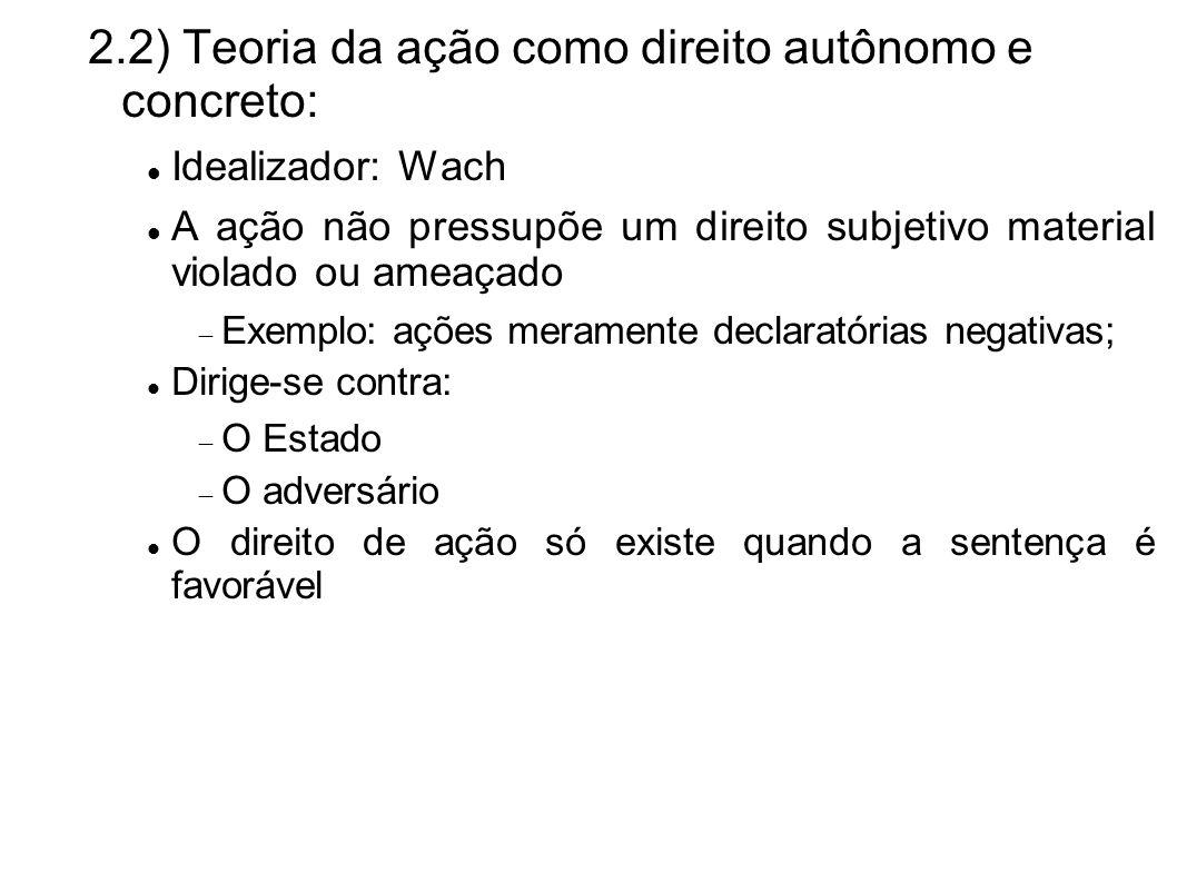 2.2) Teoria da ação como direito autônomo e concreto: