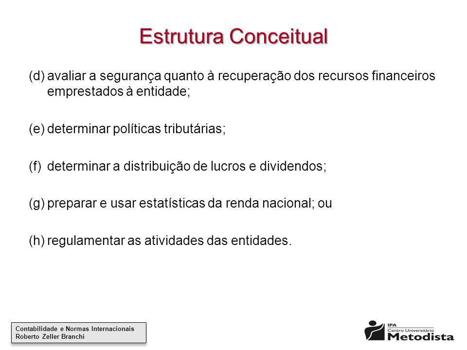 Estrutura Conceitual (d) avaliar a segurança quanto à recuperação dos recursos financeiros emprestados à entidade;