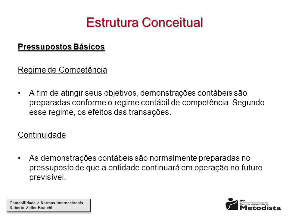 Estrutura Conceitual Pressupostos Básicos Regime de Competência