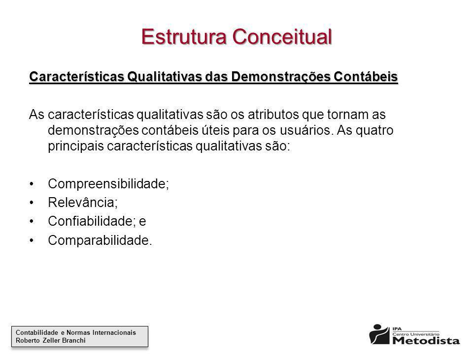 Estrutura Conceitual Características Qualitativas das Demonstrações Contábeis.