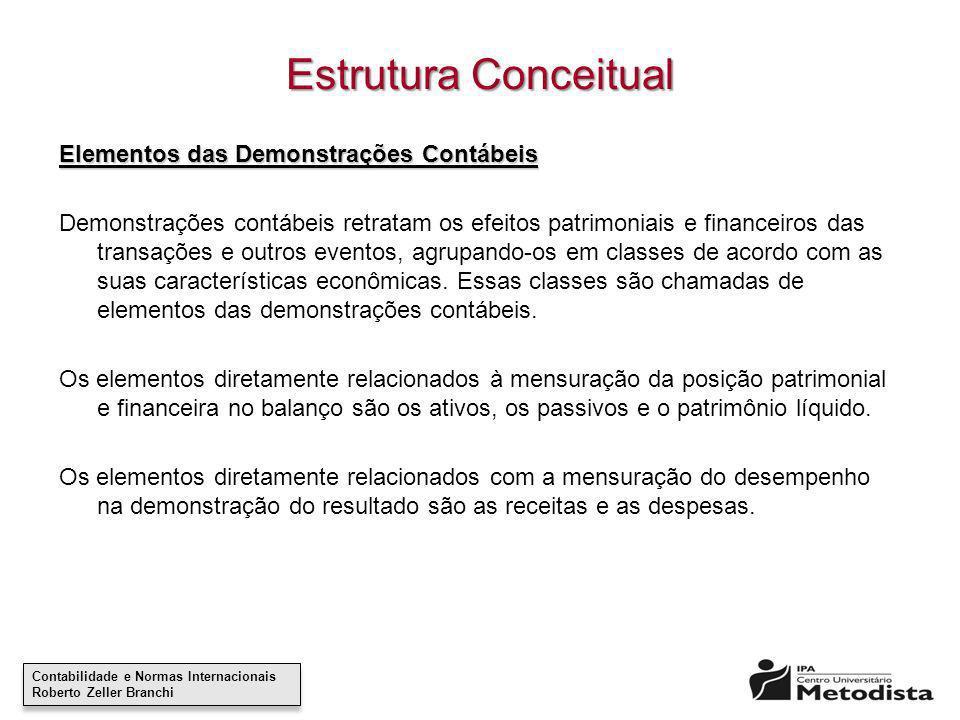 Estrutura Conceitual Elementos das Demonstrações Contábeis