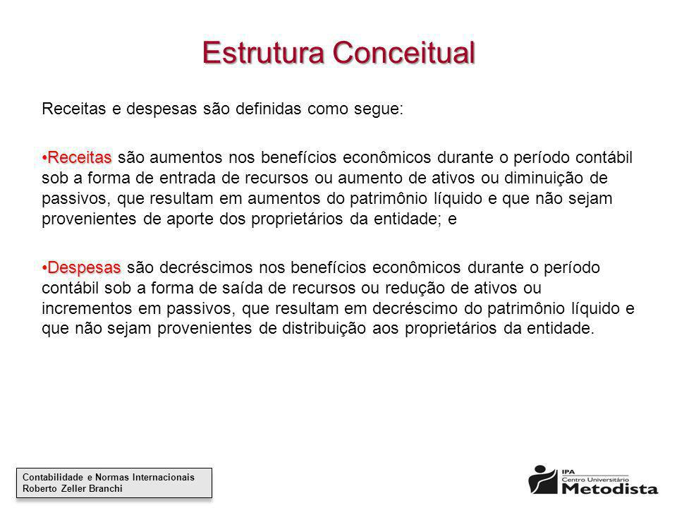 Estrutura Conceitual Receitas e despesas são definidas como segue:
