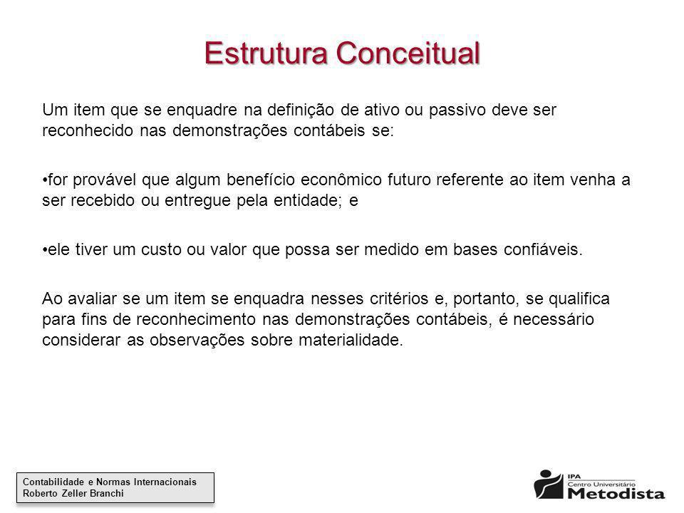 Estrutura Conceitual Um item que se enquadre na definição de ativo ou passivo deve ser reconhecido nas demonstrações contábeis se: