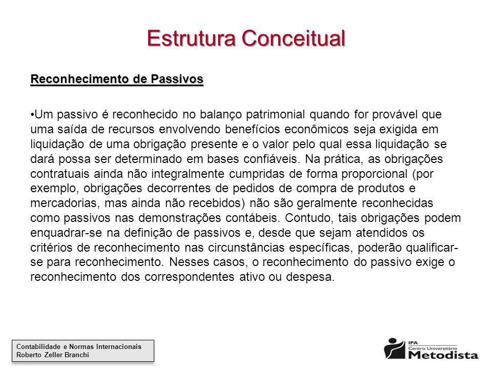 Estrutura Conceitual Reconhecimento de Passivos