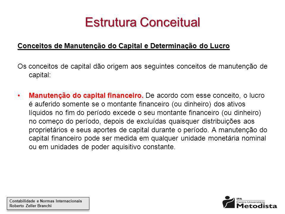 Estrutura Conceitual Conceitos de Manutenção do Capital e Determinação do Lucro.