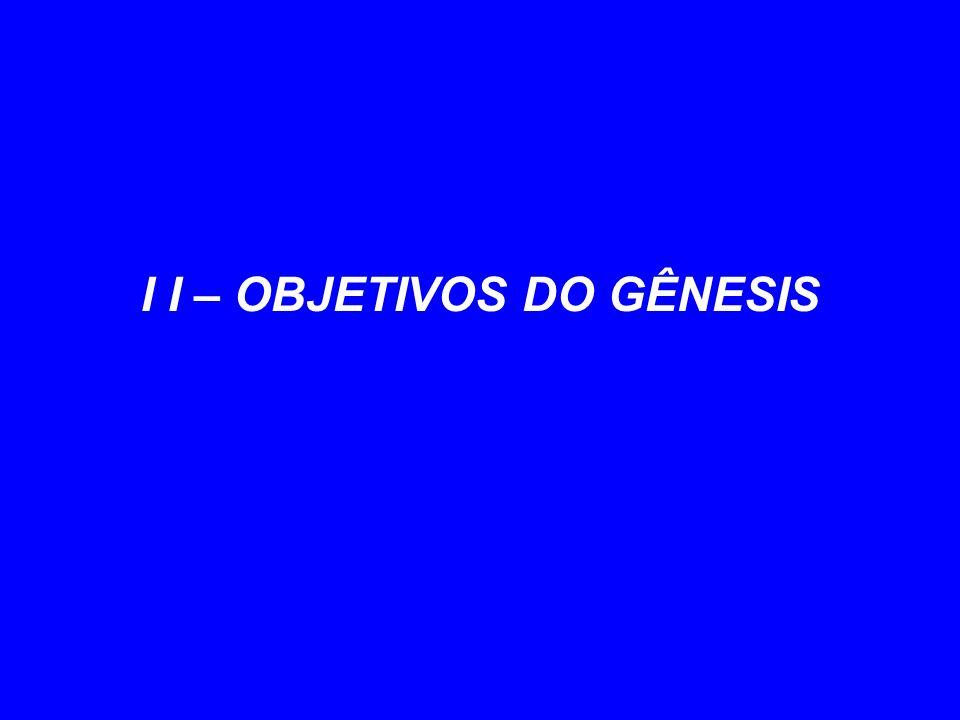 I I – OBJETIVOS DO GÊNESIS