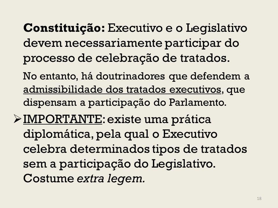 Constituição: Executivo e o Legislativo devem necessariamente participar do processo de celebração de tratados.