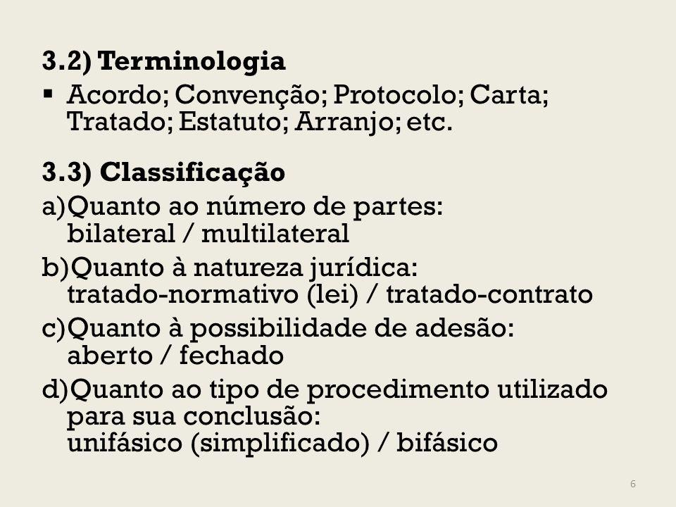 3.2) TerminologiaAcordo; Convenção; Protocolo; Carta; Tratado; Estatuto; Arranjo; etc. 3.3) Classificação.
