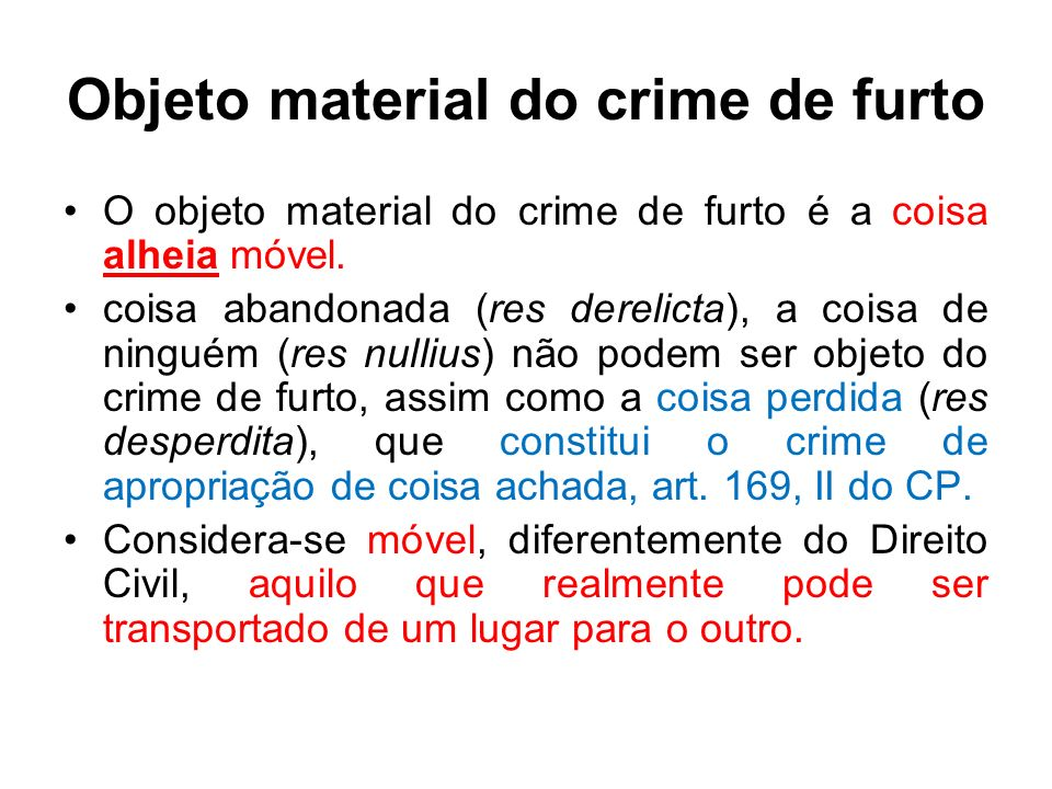 Objeto material do crime de furto