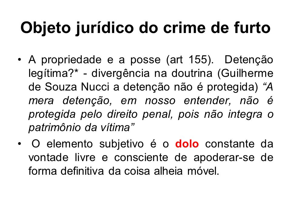 Objeto jurídico do crime de furto