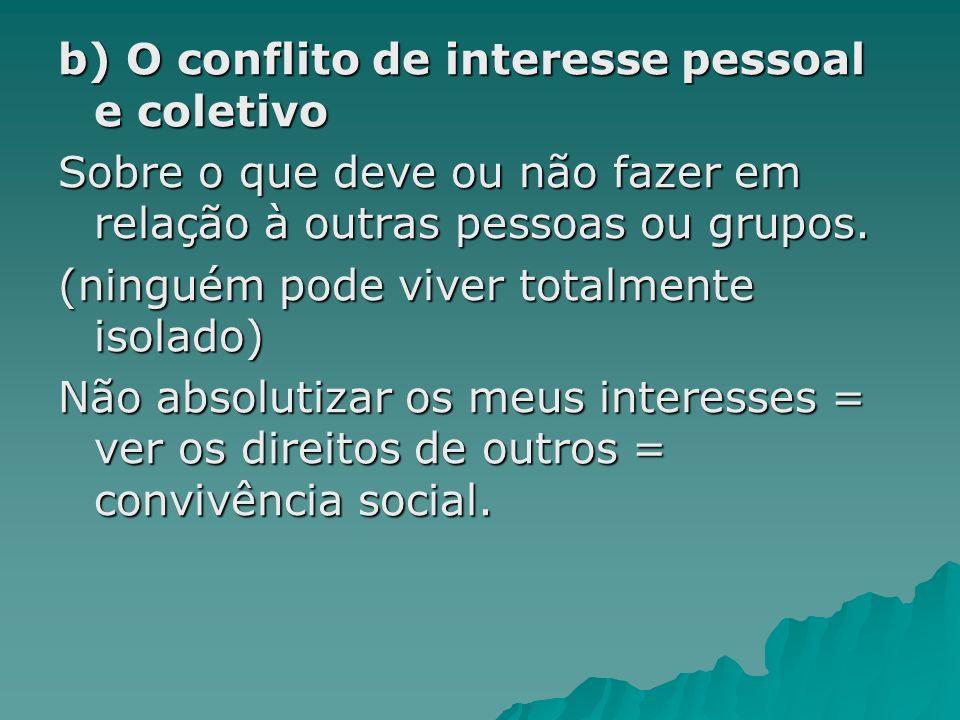b) O conflito de interesse pessoal e coletivo