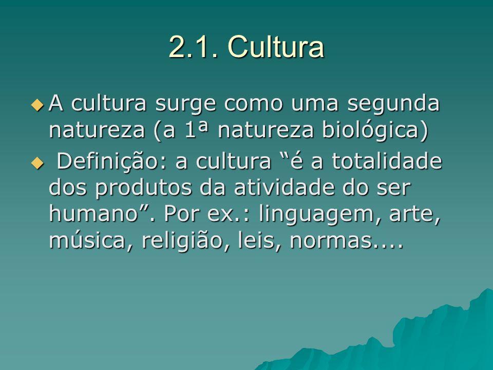 2.1. Cultura A cultura surge como uma segunda natureza (a 1ª natureza biológica)
