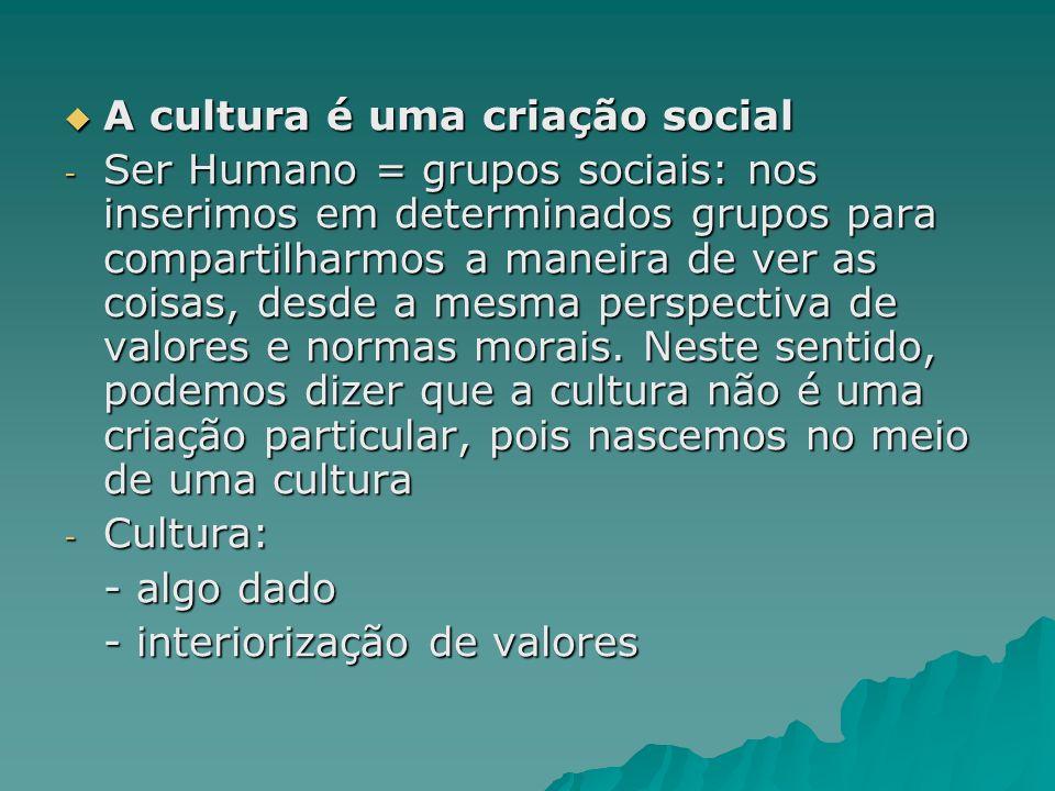 A cultura é uma criação social