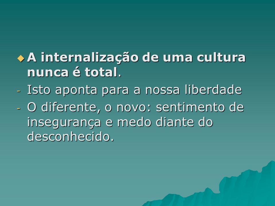 A internalização de uma cultura nunca é total.