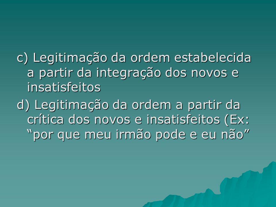 c) Legitimação da ordem estabelecida a partir da integração dos novos e insatisfeitos
