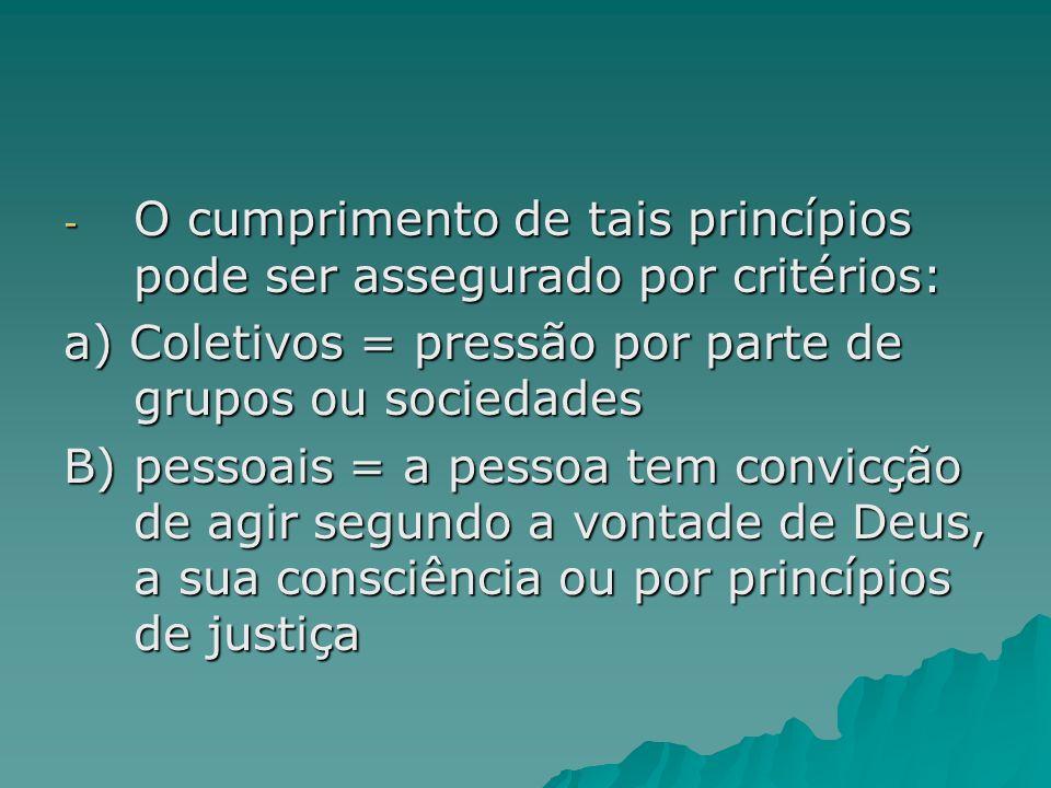 O cumprimento de tais princípios pode ser assegurado por critérios: