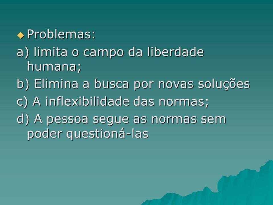 Problemas:a) limita o campo da liberdade humana; b) Elimina a busca por novas soluções. c) A inflexibilidade das normas;