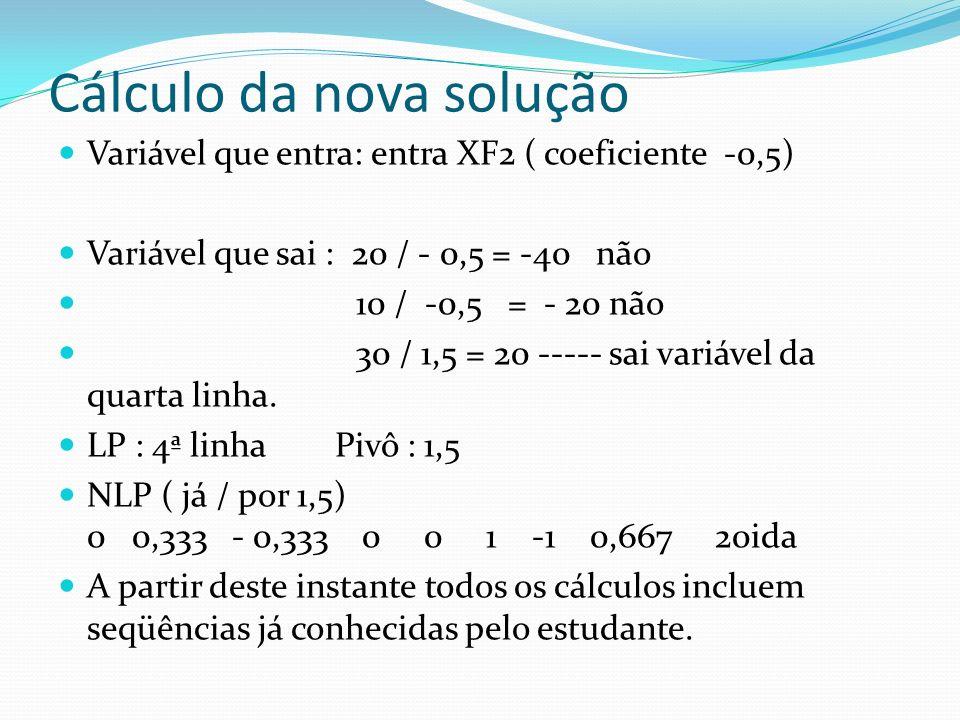 Cálculo da nova solução