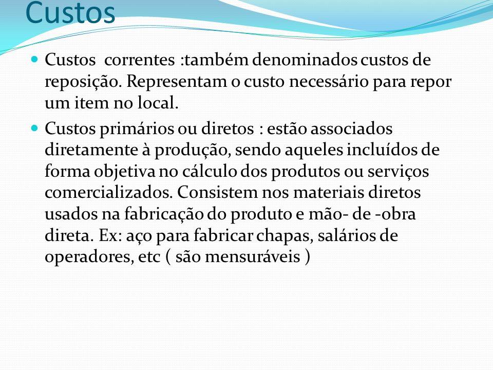 CustosCustos correntes :também denominados custos de reposição. Representam o custo necessário para repor um item no local.