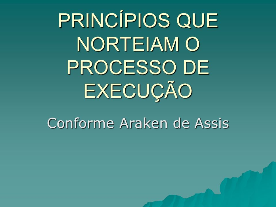 PRINCÍPIOS QUE NORTEIAM O PROCESSO DE EXECUÇÃO