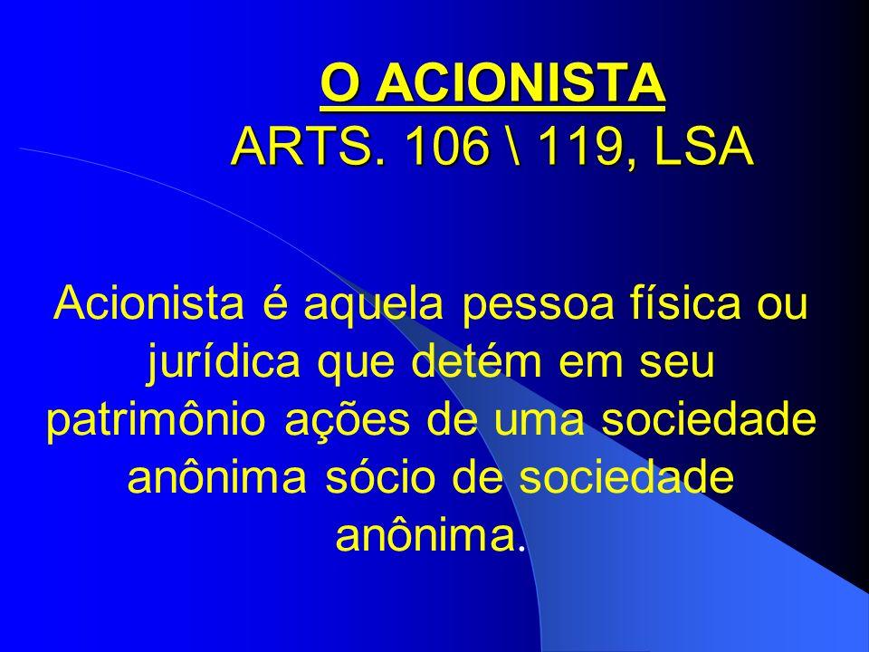 O ACIONISTA ARTS. 106 \ 119, LSA