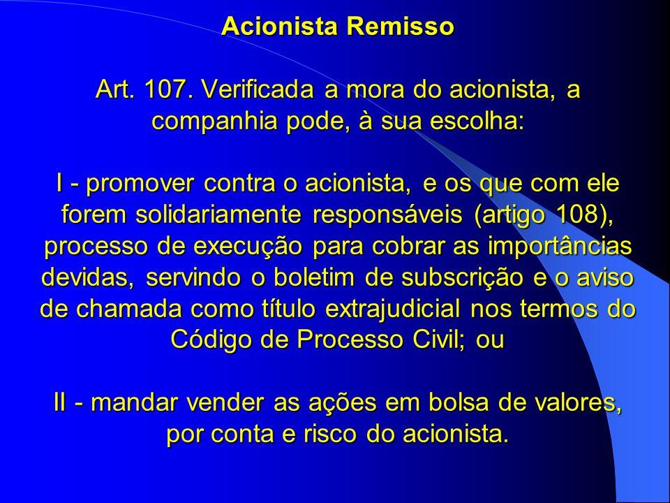 Acionista Remisso Art. 107.