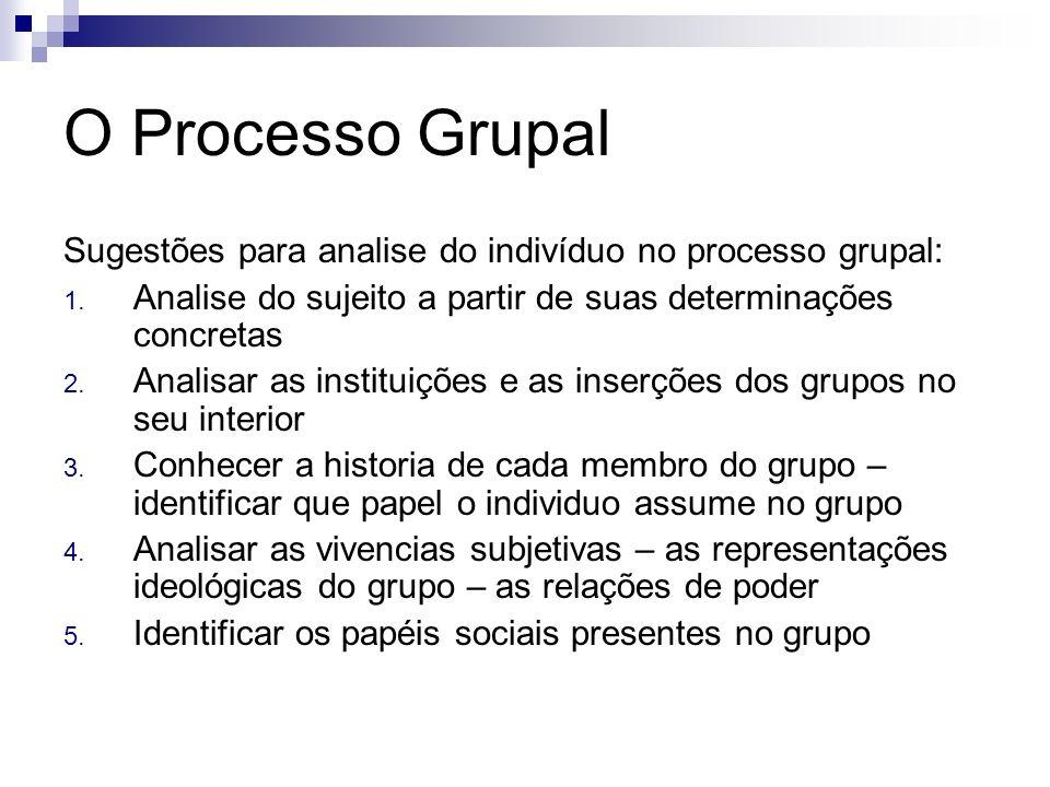 O Processo Grupal Sugestões para analise do indivíduo no processo grupal: Analise do sujeito a partir de suas determinações concretas.