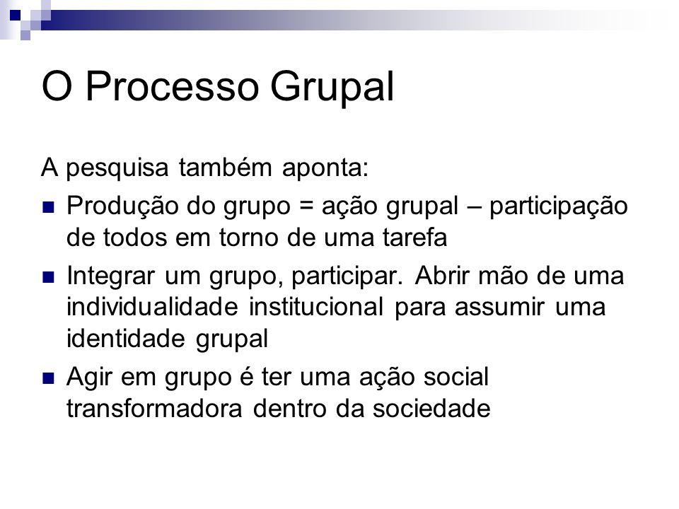 O Processo Grupal A pesquisa também aponta: