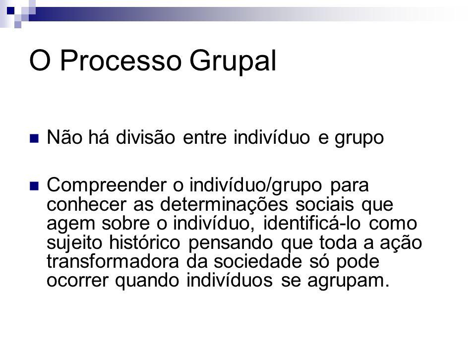 O Processo Grupal Não há divisão entre indivíduo e grupo