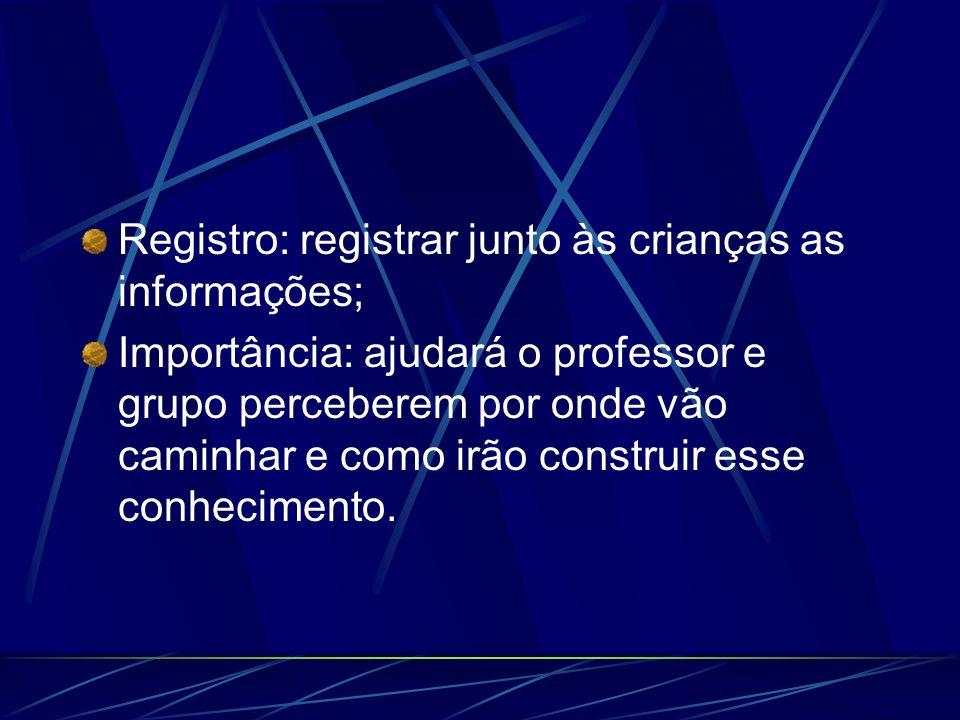 Registro: registrar junto às crianças as informações;