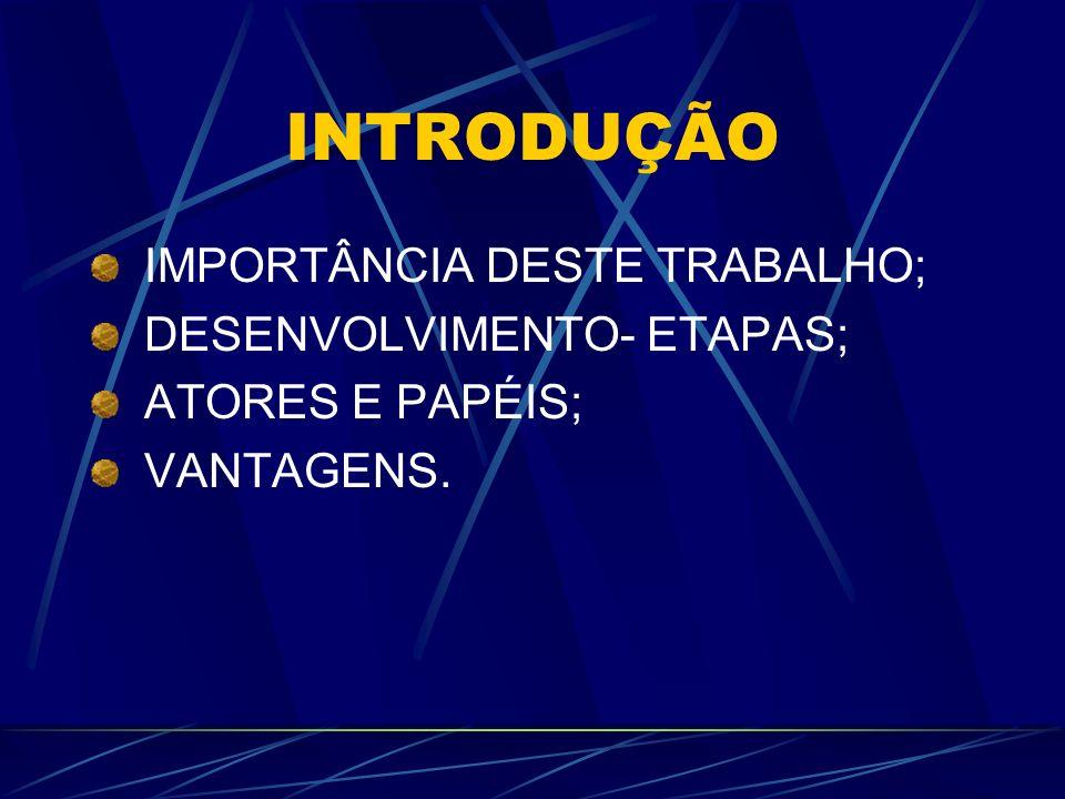 INTRODUÇÃO IMPORTÂNCIA DESTE TRABALHO; DESENVOLVIMENTO- ETAPAS;