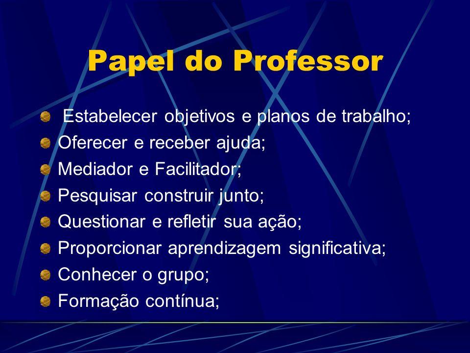 Papel do Professor Estabelecer objetivos e planos de trabalho;