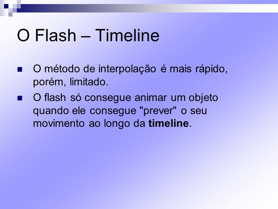 O Flash – Timeline O método de interpolação é mais rápido, porém, limitado.