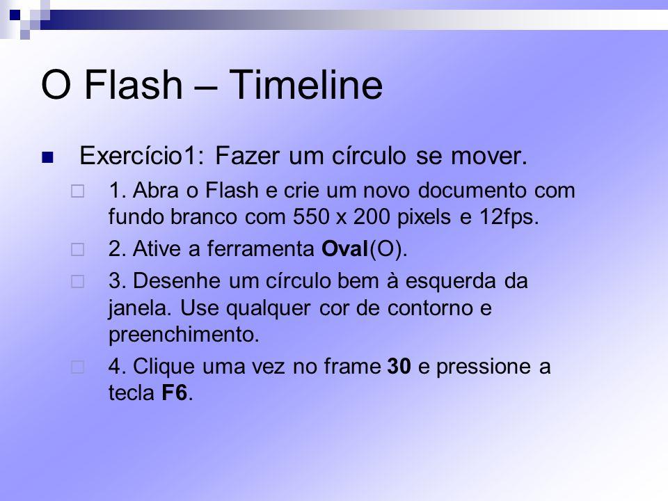 O Flash – Timeline Exercício1: Fazer um círculo se mover.
