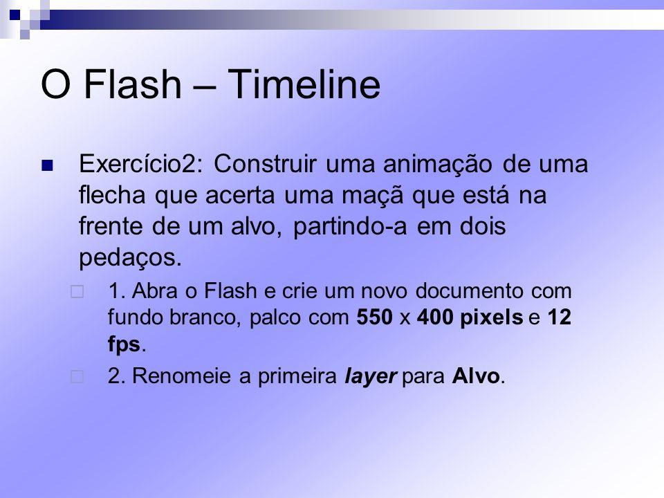 O Flash – Timeline Exercício2: Construir uma animação de uma flecha que acerta uma maçã que está na frente de um alvo, partindo-a em dois pedaços.