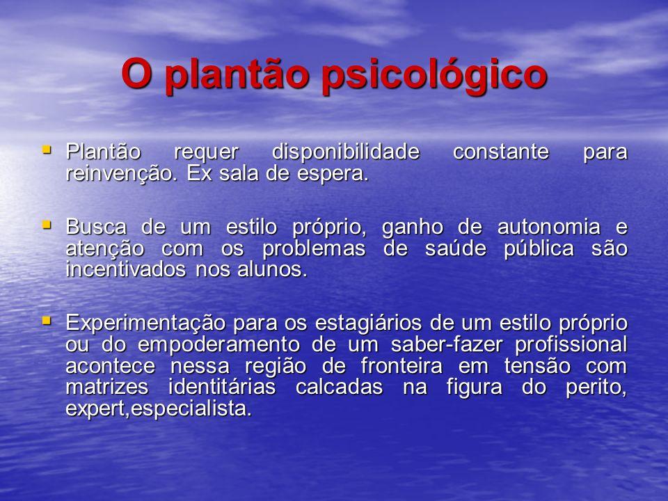 O plantão psicológico Plantão requer disponibilidade constante para reinvenção. Ex sala de espera.