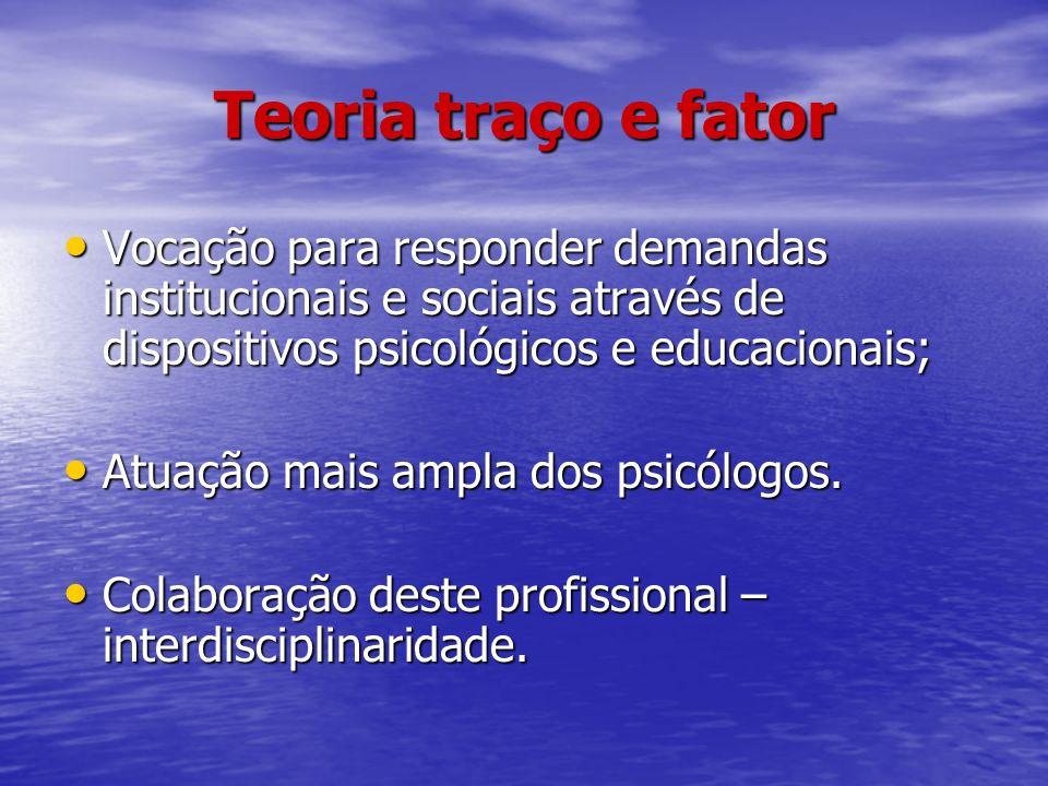 Teoria traço e fator Vocação para responder demandas institucionais e sociais através de dispositivos psicológicos e educacionais;